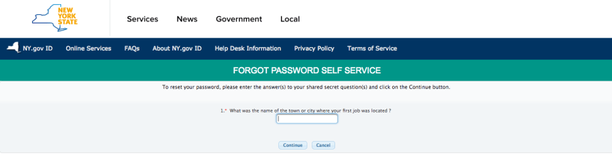 """NY Mybenefits.ny.gov password reset step 3"""