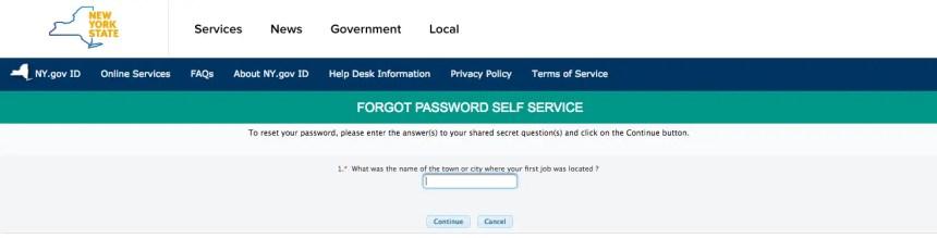 """NY Mybenefits.ny.gov password reset step 3"""