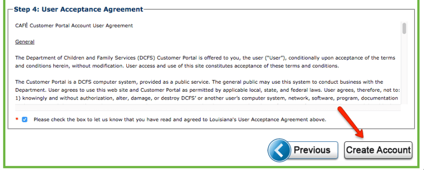 """dcfs.la.gov LA CAFE Create Account - step 4"""