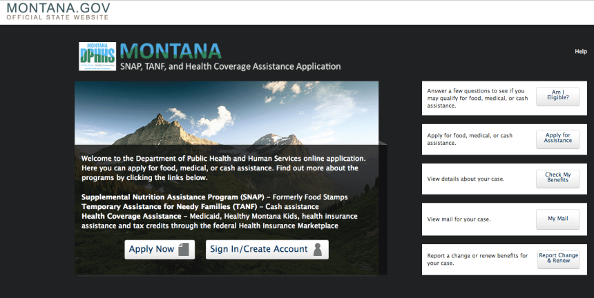 """Apply for Food Stamps in Montana Online"""