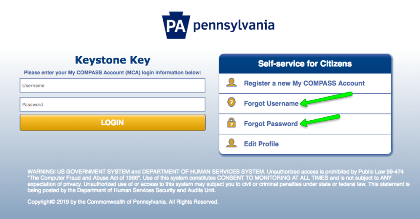 """Compass.state.pa.us Login - forgot username and password"""