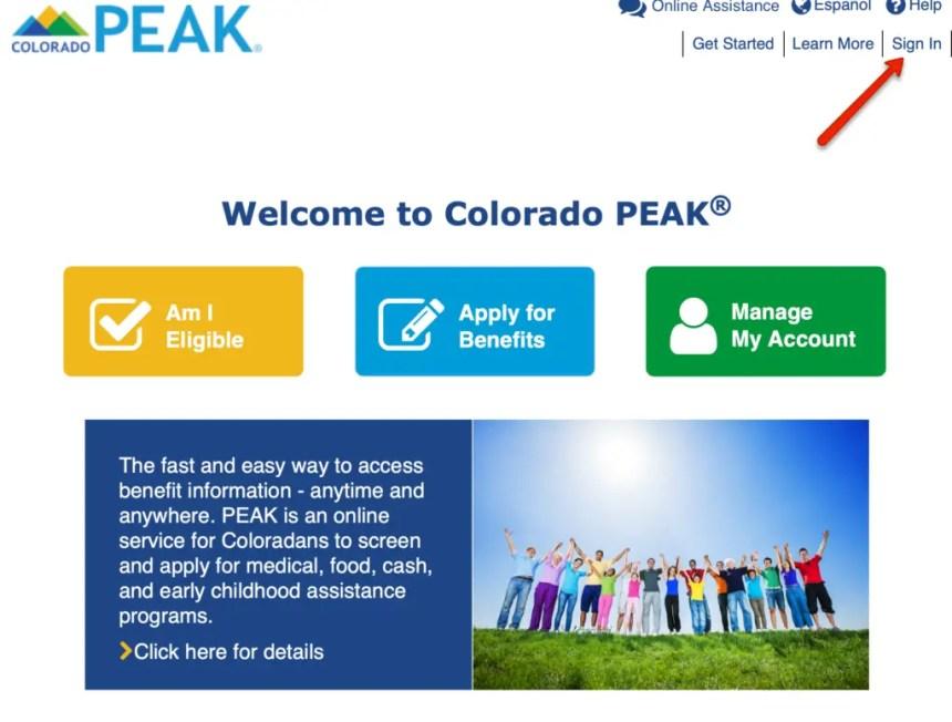 Colorado PEAK Login 1