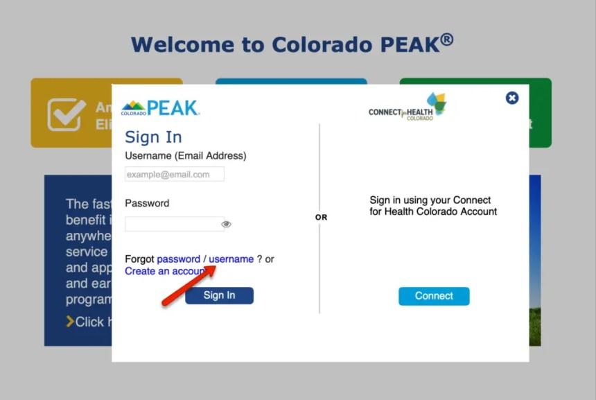 Colorado PEAK Forgot Username