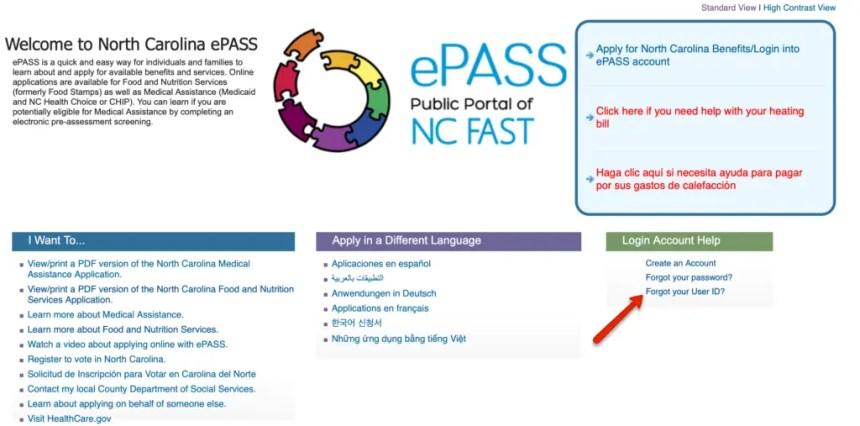 EPass NC Gov Forgot User ID