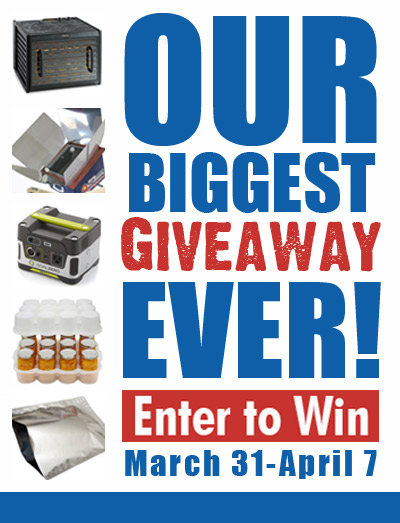 We've joined together with several other preparedness bloggers to offer this HUGE group giveaway.  Enter today for a chance to WIN! -- FoodStorageMadeEasy.NET