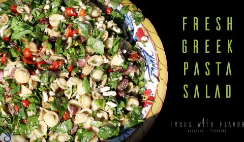 How to make a garden fresh Greek pasta salad.