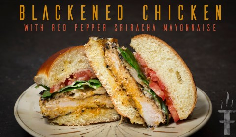 How to make blackened chicken the correct way with a cast iron pan. Also red pepper sriracha mayonnaise on a delicious fresh roll.