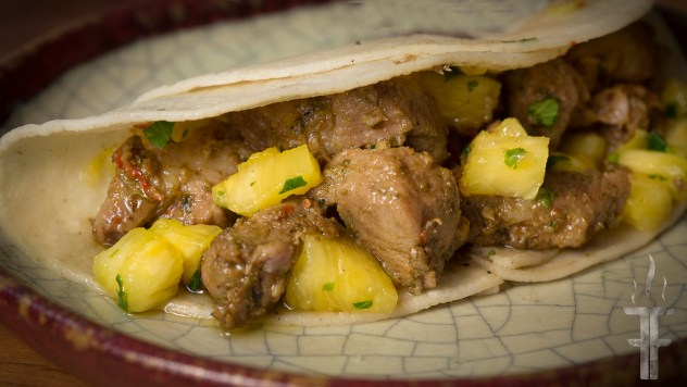How to make Geera (Cumin) Pork Tacos with pineapple/cilantro salsa.