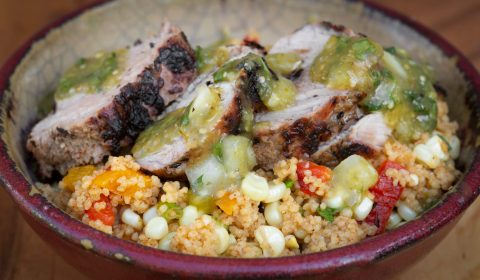 Roasted Couscous Pork Tenderlion & Jalapeno/Tomatillo Salsa