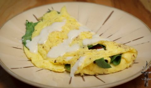 How to make a soft buttery vegetable omelette with Bechamel Sauce.