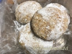 Frozd patties, dusted with cornflour to keep away from sticking