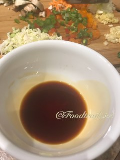 Mix together soya sauce, tomato ketchup, chilli sauce and vinegar. Also add brown sugar/sugar to it