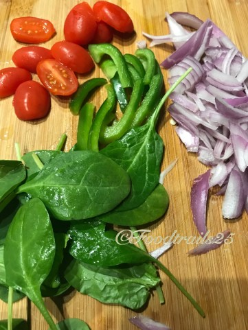 Ingredients for topping--nions, Cherry Tomatoes, SPinach leaves and green capsicum