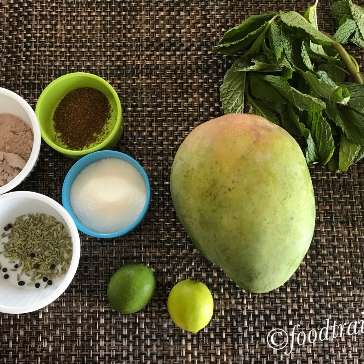 Rwa Mango(Kairi),Mint leaves, Roasted Cumin Powder, Fennel Seeds, Black Pepper, Lime/Lemon, Sugar,Kala Namak/Black Salt