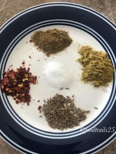 Spices added-- Garam Masala,Red Chilli Flakes, Cumin Seeds, Coriander Powder,Salt