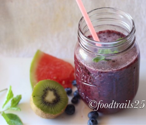 Watermelon and Double Berry Smoothie
