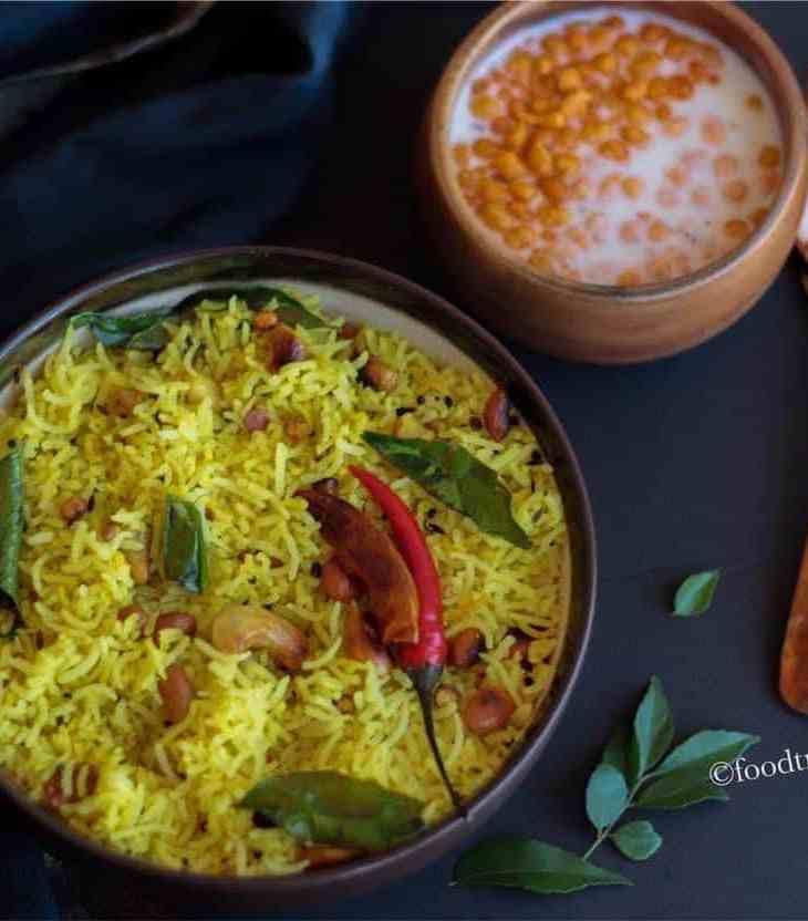 Lemon Rice with Boondi Raita