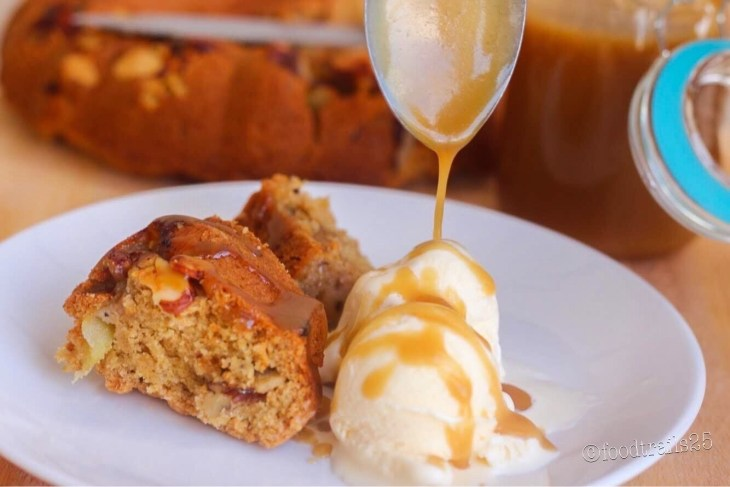 Whole Wheat Apple cake with Butterscoth Sauce
