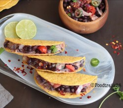 Black Bean Salad in Crunchy Tacos