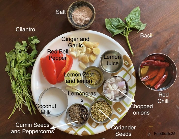 Ingredients for vegan Thai Curry Paste