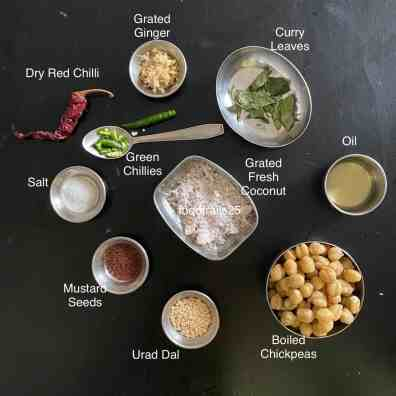 Ingredients to make Chickpea Sundal