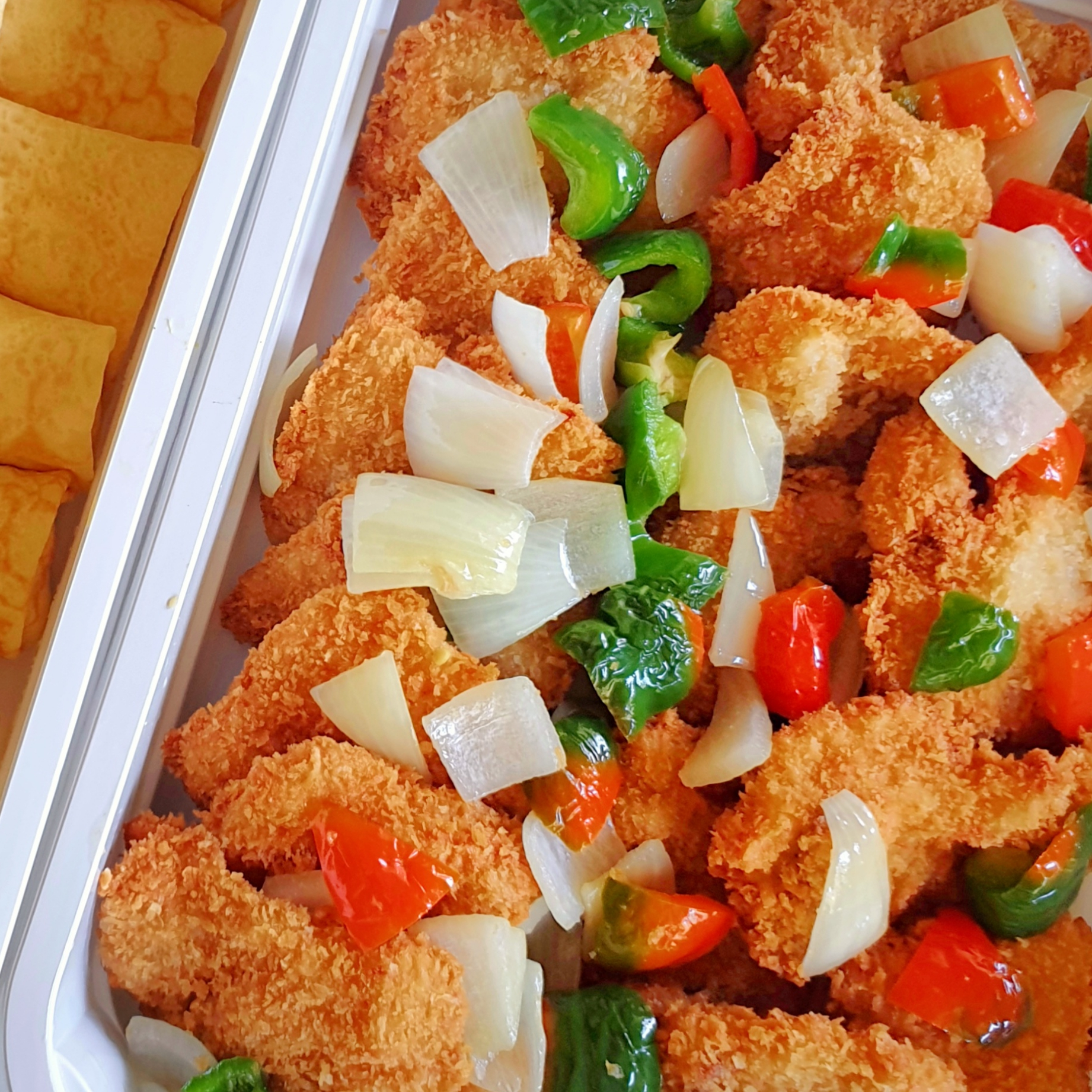 Breaded Fish fillet w/ sweet and sour sauce