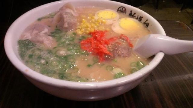 Hakata Ramen topped with corn, egg, pork belly, ginger, and green onion. Photo: Foodwanderer