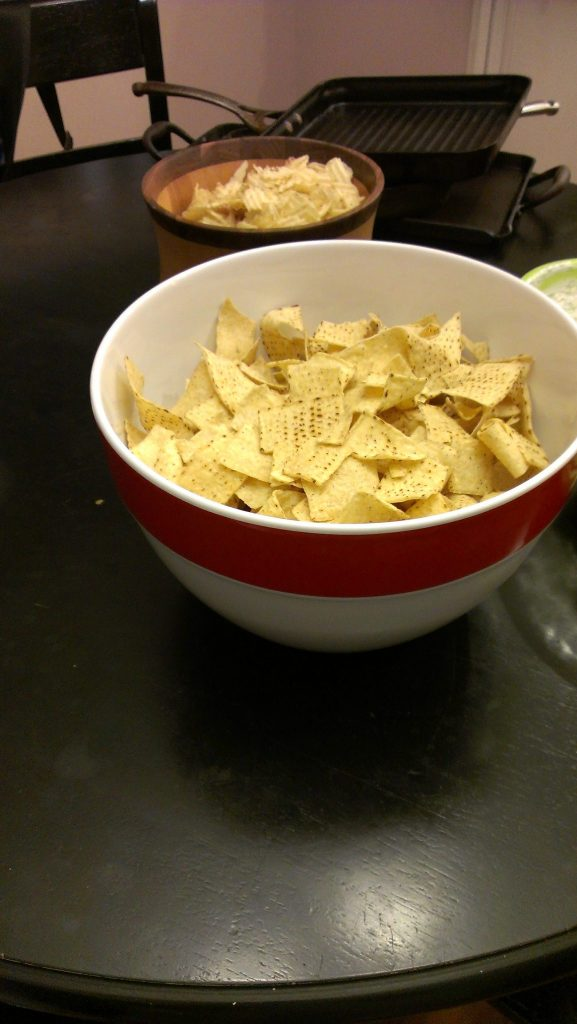 Lots of chips, sour cream, and guacamole!
