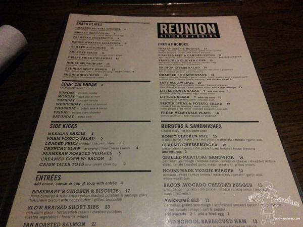 Reunion Kitchen + Drink Menu