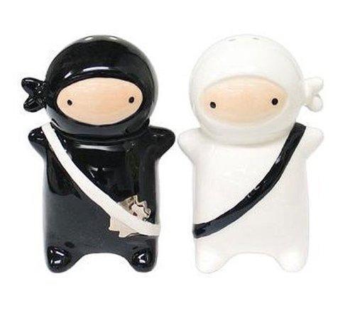 180 Degrees Pj0345 Japanese Ninja Kids Salt & Pepper Shaker Set, Black and White
