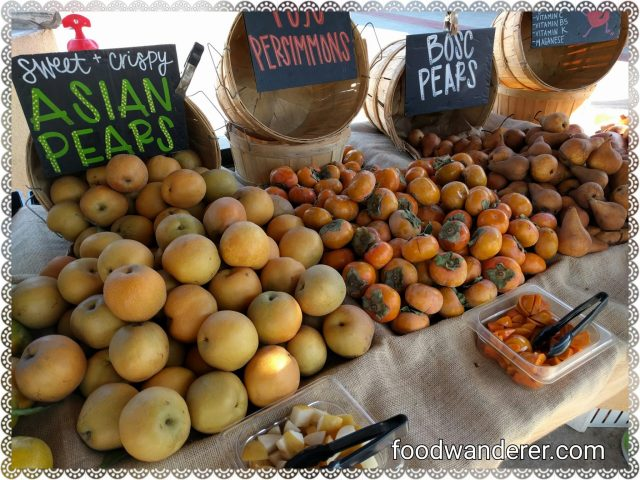Asian pears, persimmons, and bosc pears