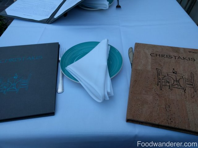 Greek Menu and wine menu