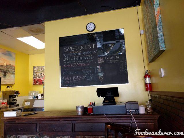 Aunt Yese's Breakfast Specials blackboard