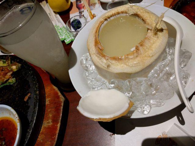 Lychee soju served in coconut