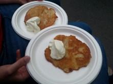Potato cakes and sour cream