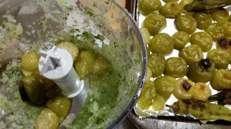 Blending the onion, coriander, lime juice and tomatillos