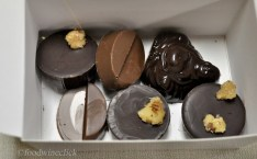 Benefits of attending the B.T. McElrath chocolate seminar! TeaSource tea flavored ganache inside the buddha, gorgonzola flavored filling inside the ones with a walnut piece, caramel filling. There were more, but some of mine didn't make it to the box.
