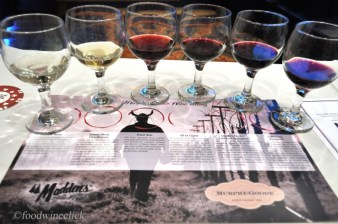 """A nice lineup of Murphy-Goode wines. My favorite was the """"All in Claret""""."""