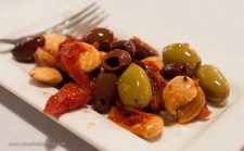 Simple, flavorful combinations: olives, marcona almonds, sun dried tomatoes, orange zest and nutmeg