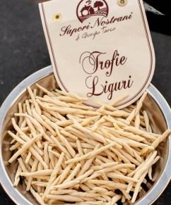 Handmade trofie pesto carried back from Italy