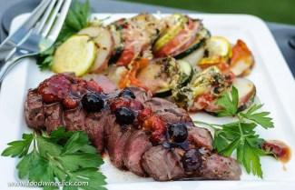 Rare steak with Madeira fruit sauce