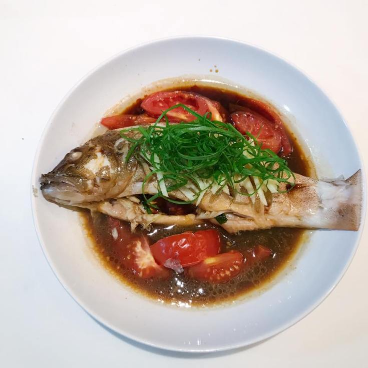 Steam Fish with Tomato, ginger and soy sauce