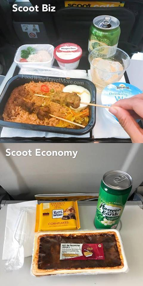 Scoot Biz VS Scoot economy class meal