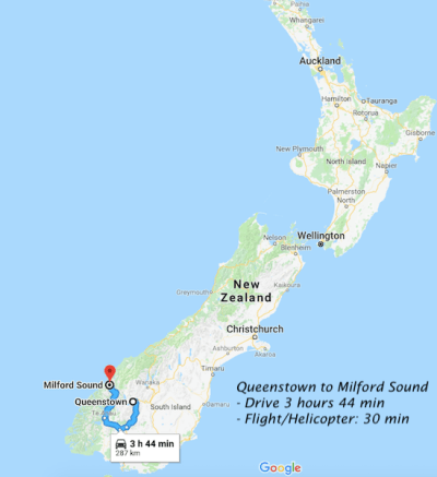 Queenstown to Milford Sound map