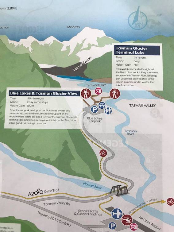 Tasman Glacier walk hiking map - What To do in mt cook