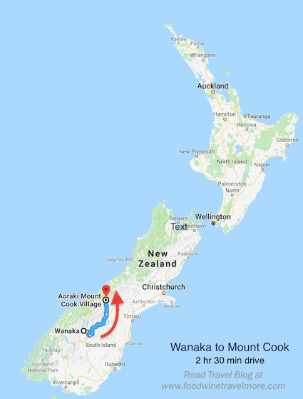 Wanaka to Mount Cook - Map