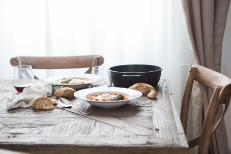 date night soup dinner set for two at home at a rustic wooden table