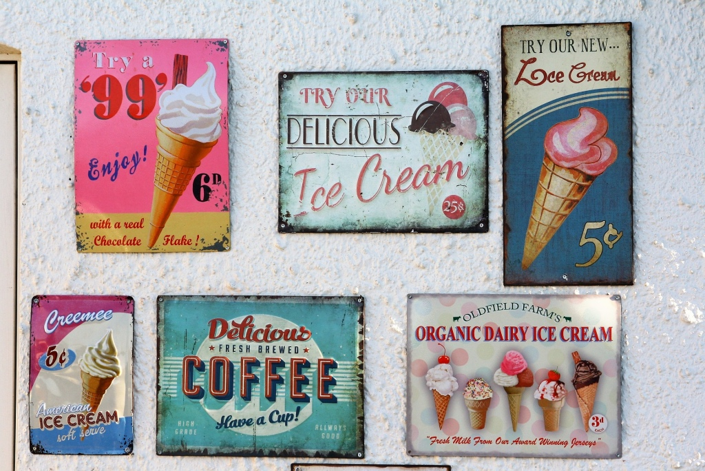 Vintage ice cream signs in a gallery wall | photo by Ann | best ice cream in NJ on foodwithaview.com