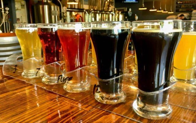 Craft beer tasting glasses in a row | R Shea Brewing Co Akron OH | beer and food, food and beer | foodwithaview.com