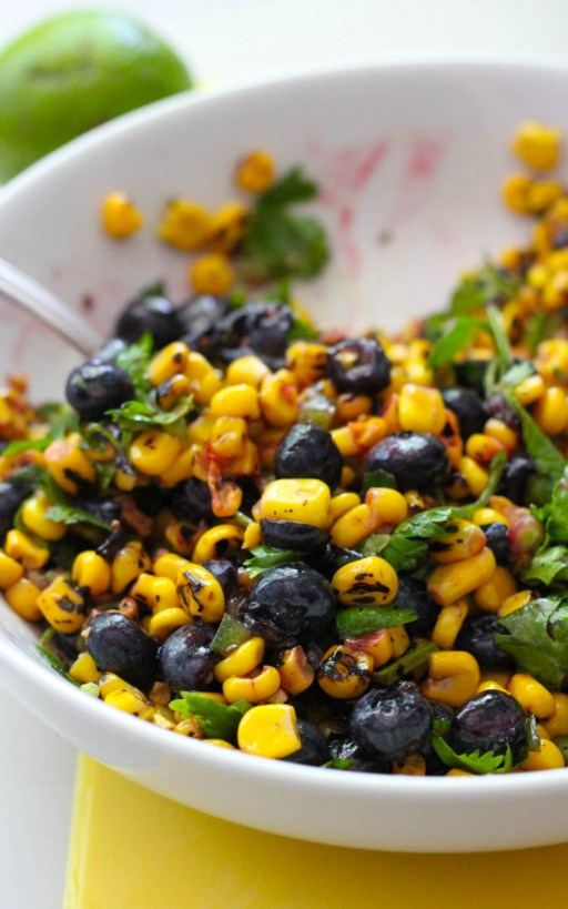 Corn and blueberry salsa in a white bowl | Terras Kitchen Review | foodwithaview.com